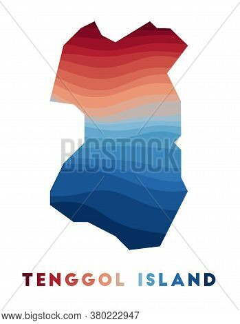Tenggol Island Map. Map Of The Island With Beautiful Geometric Waves In Red Blue Colors. Vivid Tengg