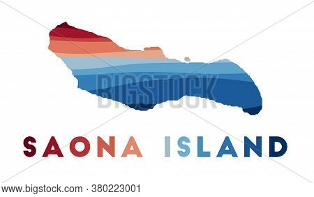 Saona Island Map. Map Of The Island With Beautiful Geometric Waves In Red Blue Colors. Vivid Saona I
