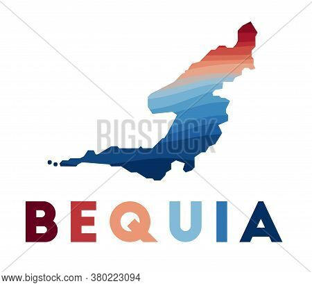 Bequia Map. Map Of The Island With Beautiful Geometric Waves In Red Blue Colors. Vivid Bequia Shape.