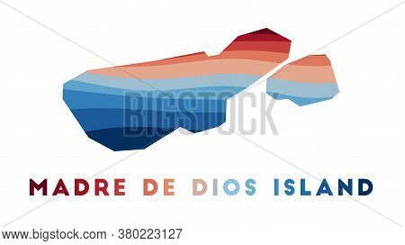 Madre De Dios Island Map. Map Of The Island With Beautiful Geometric Waves In Red Blue Colors. Vivid