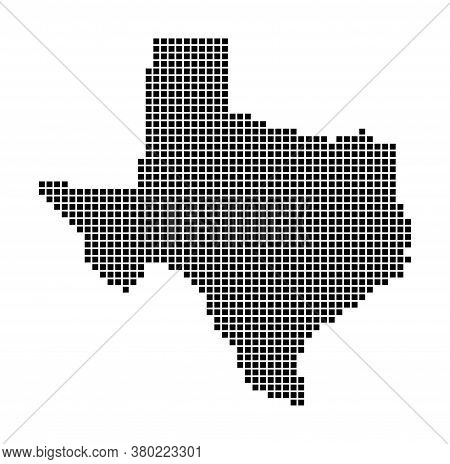 Texas Map. Map Of Texas In Dotted Style. Borders Of The Us State Filled With Rectangles For Your Des
