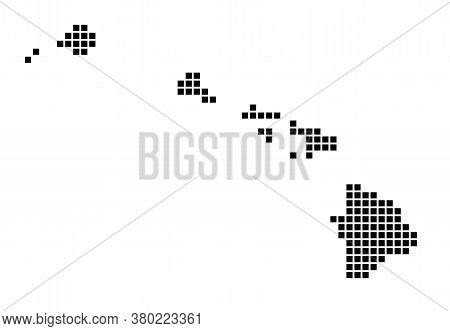 Hawaii Map. Map Of Hawaii In Dotted Style. Borders Of The Island Filled With Rectangles For Your Des