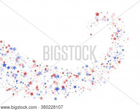 American Independence Day Stars Background. Confetti In Usa Flag Colors For Independence Day. Vivid
