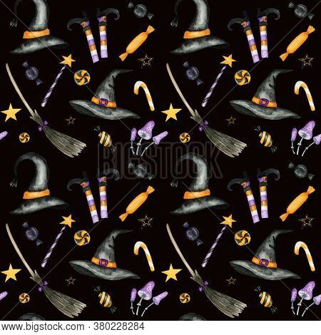 Happy Halloween Seamless Pattern With Wich Hat, Broom, Magic Wand, Candy Sweets Party Decorations. W
