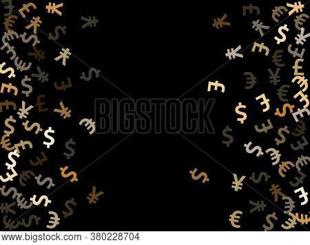 Euro Dollar Pound Yen Metallic Icons Scatter Currency Vector Background. Finance Pattern. Currency S