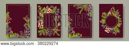 Cute Herb Twigs, Tree Branches, Flowers Floral Invitation Cards Collection. Herbal Corners Vintage C