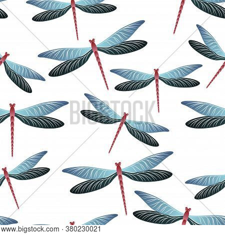 Dragonfly Colorful Seamless Pattern. Summer Clothes Fabric Print With Flying Adder Insects. Isolated