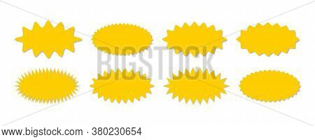 Starburst Yellow Sticker Set - Collection Of Special Offer Sale Oval Shaped Sunburst Labels And Badg