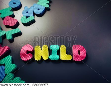 Child Alphabet In Vintage Background. Stock Photo.