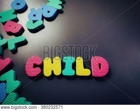 Child Alphabet In Vintage Background. Stock Photo.