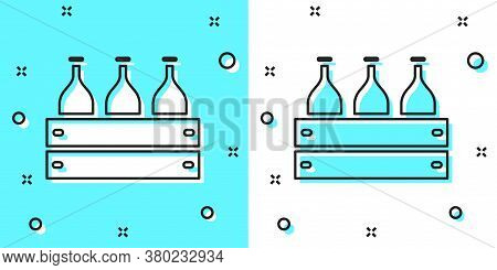 Black Line Bottles Of Wine In A Wooden Box Icon Isolated On Green And White Background. Wine Bottles