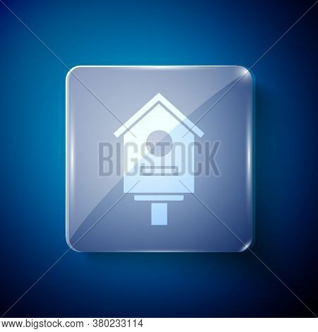 White Bird House Icon Isolated On Blue Background. Nesting Box Birdhouse, Homemade Building For Bird