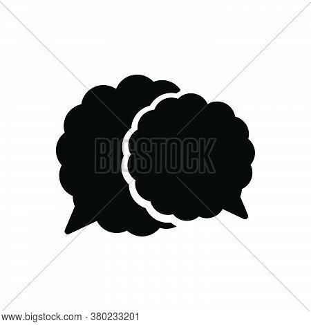 Black Solid Icon For Speech-bubble Talk Oration Harangue Recitative Speak Chat Gossip Communication