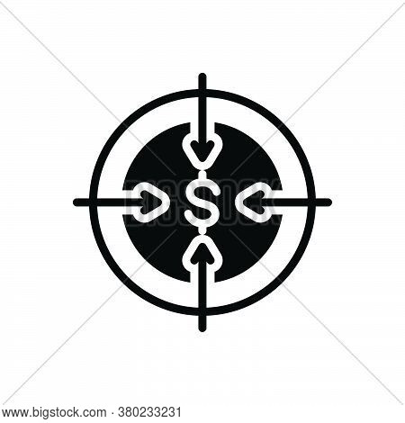 Black Solid Icon For Target Ambition Intention Bullseye Dartboard Challenge Goal Aspirations Accurac