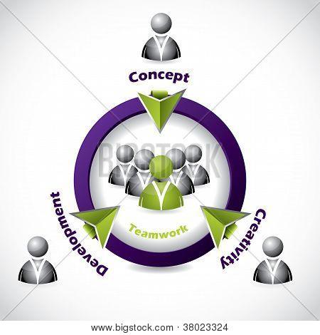 Social Network Icon Design Showing Teamwork