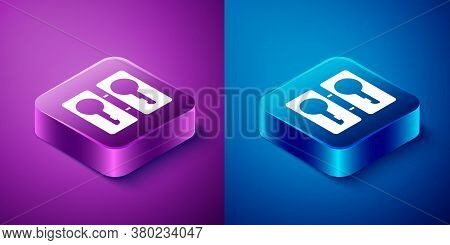 Isometric Metal Mold Plates For Casting Keys Icon Isolated On Blue And Purple Background. Set For Ma