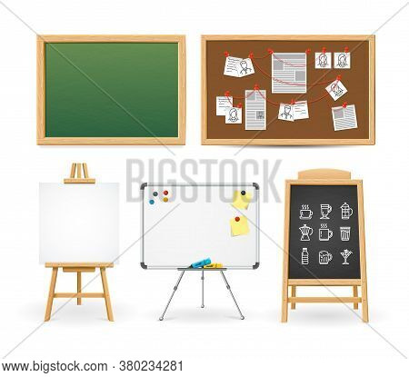 Realistic Detailed 3d Different Types Boards Set Include Of Whiteboard And Chalk Blackboard . Vector