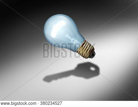 Key Bulb Power Of Ideas And Creative Ideas As A Light Bulb Or Lightbulb Casting A Shadow As A Creati