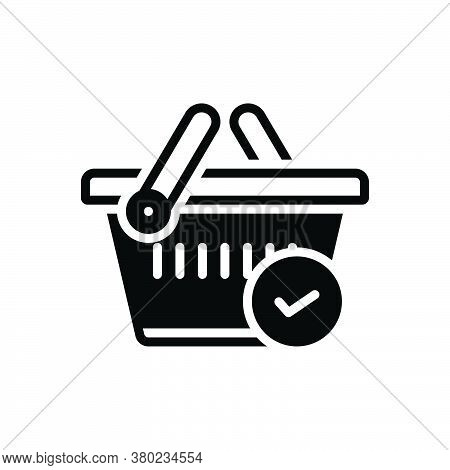 Black Solid Icon For Checked Merchandise Basket Buying Commerce Grocery Trolly Purchase Store Superm