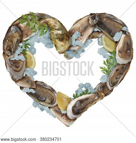 Oysters Love As A Group Of Oyster Shells With Lemon Slices And Ice As A Gourmet Food And Aphrodisiac