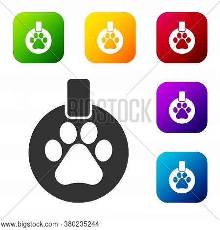 Black Collar With Name Tag Icon Isolated On White Background. Supplies For Domestic Animal. Dog Or C
