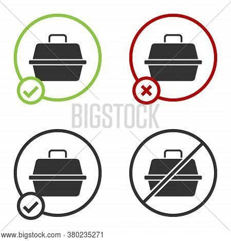 Black Pet Carry Case Icon Isolated On White Background. Carrier For Animals, Dog And Cat. Container