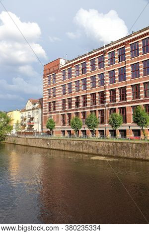 Plagwitz Factory District In Leipzig City In Saxony, Germany. Former Repurposed Industrial Building.