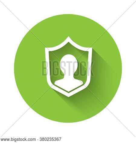 White User Protection Icon Isolated With Long Shadow. Secure User Login, Password Protected, Persona