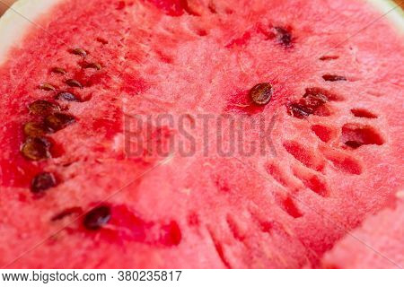 Fresh Red Flesh Of Juicy Watermelon For Tasty Eating