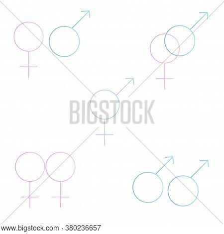 Gradient Gender Symbols Icons Set. Male Female Bisexual Transgender Gay Lesbian And Other Genders Ve
