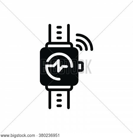 Black Solid Icon For Wearable-tracker Wearable Tracker Wrist Digital Calories Gadget Speedometer Wir