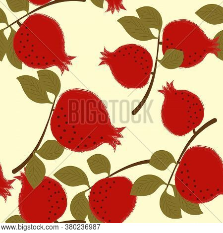 Seamless Pattern With Pomegranate Fruits And Branches On Yellow Background. Vector Cartoon Illustrat
