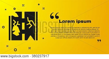Black Broken Road Icon Isolated On Yellow Background. Vector