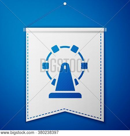 Blue Ferris Wheel Icon Isolated On Blue Background. Amusement Park. Childrens Entertainment Playgrou