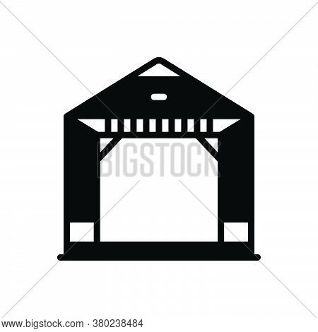 Black Solid Icon For Pergola Gazebo Arbor Courtyard Alcove Comfortable Pavilion Relaxation Restauran