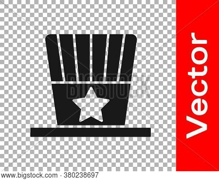 Black Patriotic American Top Hat Icon Isolated On Transparent Background. Uncle Sam Hat. American Ha