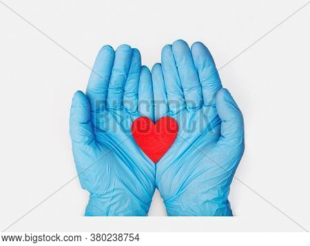 Hands in medical gloves holding a red heart shape model on white background. cardiology. organ donation or healthy heart concept