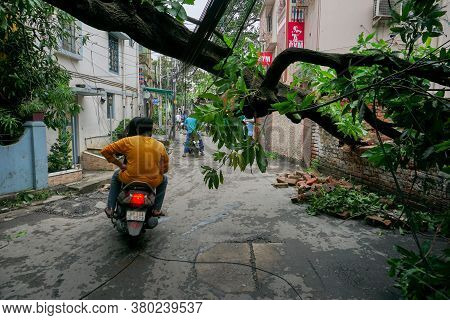 Howrah, West Bengal, India - 21st May 2020 : Super Cyclone Amphan Uprooted Tree Which Fell And Block
