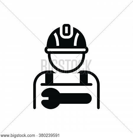 Black Solid Icon For Worker Employee Practician Roustabout Attendant Salesperson Hireling Shopman Ag