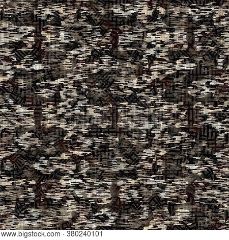 Seamless Modern Sepia Camo Print Texture Background. Worn Mottled Camouflage Skin Pattern Textile Fa