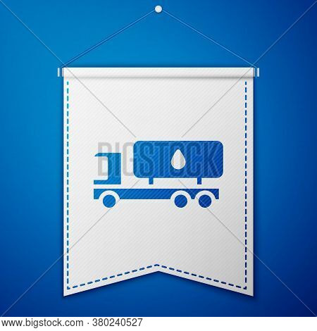 Blue Tanker Truck Icon Isolated On Blue Background. Petroleum Tanker, Petrol Truck, Cistern, Oil Tra