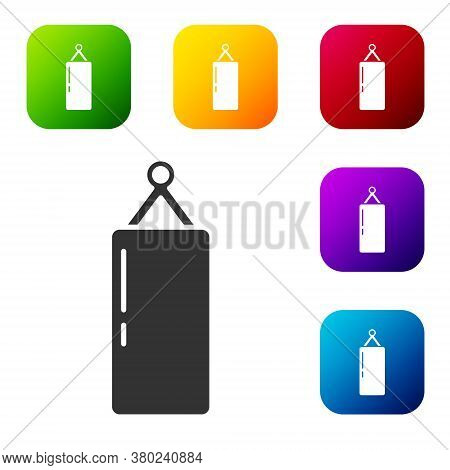 Black Punching Bag Icon Isolated On White Background. Set Icons In Color Square Buttons. Vector