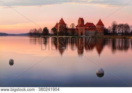 Lithuania, Trakai. Fantastically Fiery Sunset Over Trakai Island Castle In Lithuania, With A Beautif