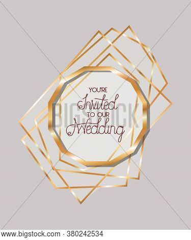 You Are Invited To Our Wedding Text In Gold Circle Design, Wedding Invitation Save The Date And Enga