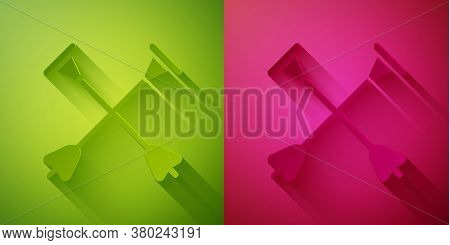 Paper Cut Arrow With Sucker Tip Icon Isolated On Green And Pink Background. Paper Art Style. Vector