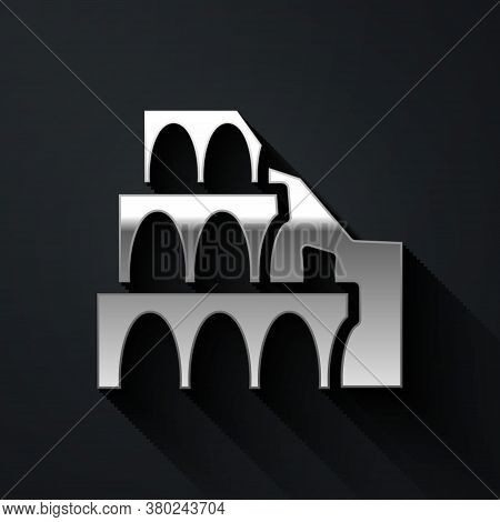 Silver Coliseum In Rome, Italy Icon Isolated On Black Background. Colosseum Sign. Symbol Of Ancient