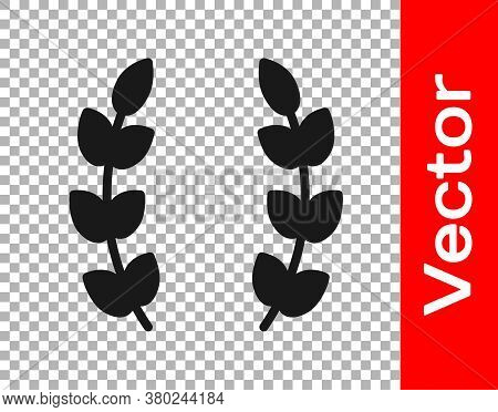 Black Laurel Wreath Icon Isolated On Transparent Background. Triumph Symbol. Vector