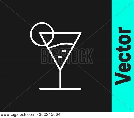White Line Martini Glass Icon Isolated On Black Background. Cocktail Icon. Wine Glass Icon. Vector I