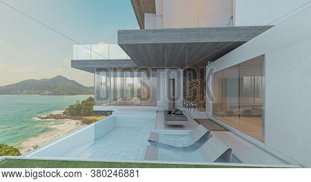 Luxury Modern Backyard With A Swimming Pool Sea View, 3d Rendering