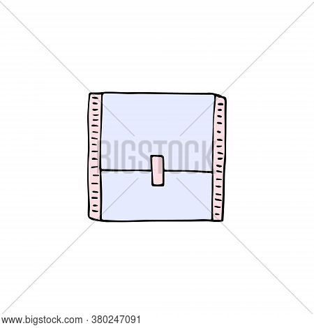 Vector Colored Hand Drawn Doodle Sketch Menstrual Pad Pack Isolated On White Background